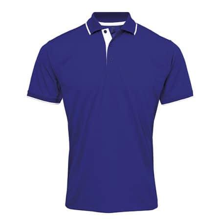 Men`s Contrast Coolchecker Polo in Royal (ca. Pantone 286) White von Premier Workwear (Artnum: PW618