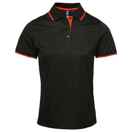 Ladies` Contrast Coolchecker Polo in Black|Orange (ca. Pantone 1655) von Premier Workwear (Artnum: PW619