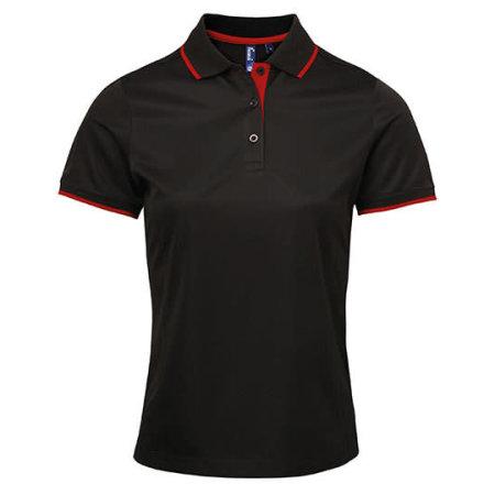 Ladies` Contrast Coolchecker Polo in Black Red (ca. Pantone 200) von Premier Workwear (Artnum: PW619