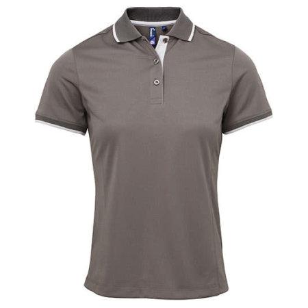 Ladies` Contrast Coolchecker Polo in Dark Grey (ca. Pantone 424)|Silver (ca. Pantone 428) von Premier Workwear (Artnum: PW619