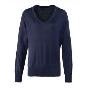 Ladies` V-Neck Knitted Sweater