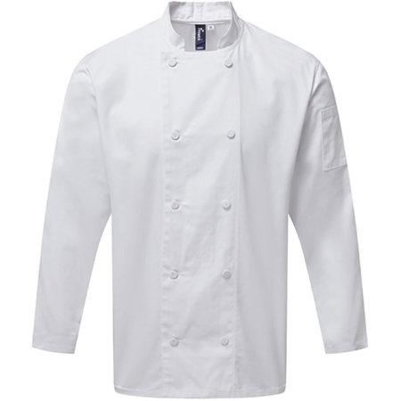 Chefs Long Sleeve Coolchecker® Jacket in White von Premier Workwear (Artnum: PW903