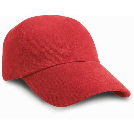 Junior Heavy Brushed Cotton Cap in Red von Result Headwear (Artnum: RH24J