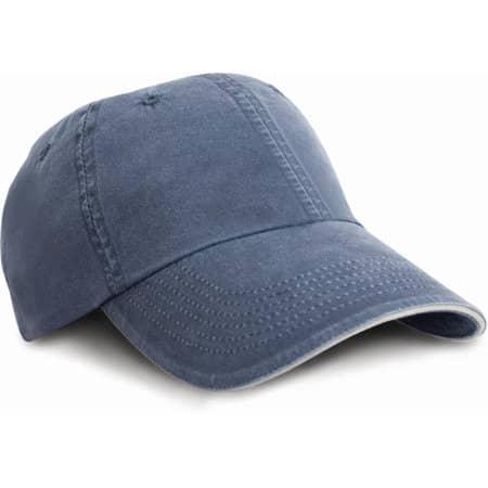Washed Sandwich Peak Cap von Result Headwear (Artnum: RH54