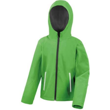 Junior Hooded Soft Shell Jacket in Vivid Green Black von Result Core (Artnum: RT224J