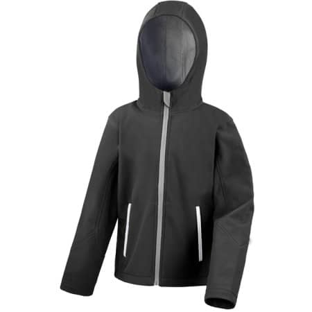 Youth Hooded Soft Shell Jacket in Black Grey von Result Core (Artnum: RT224Y