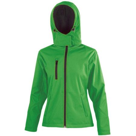 Ladies` TX Performance Hooded Soft Shell Jacket in Vivid Green Black von Result Core (Artnum: RT230F