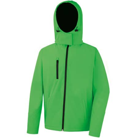 Men`s Core Lite Hooded Soft Shell Jacket in Vivid Green Black von Result Core (Artnum: RT230M