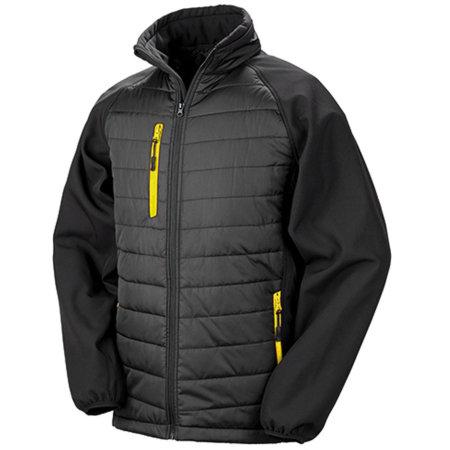 Black Compass Softshell Jacket in Black Yellow von Result (Artnum: RT237
