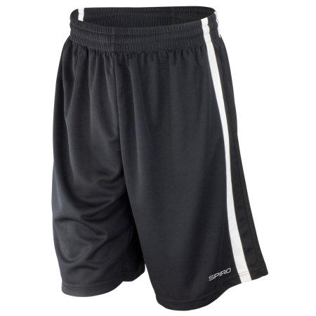 Basketball Men`s Quick Dry Short in Black|White von SPIRO (Artnum: RT279