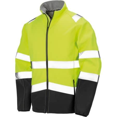 Printable Safety Softshell Jacket in Fluorescent Yellow|Black von Result (Artnum: RT450
