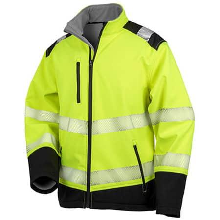 Printable Ripstop Safety Softshell Jacket in Fluorescent Yellow Black von Safe-Guard (Artnum: RT476