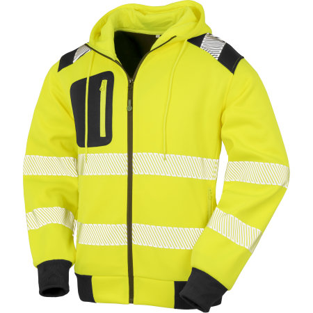 Recycled Robust Zipped Safety Hoody in Fluorescent Yellow|Black von Result Genuine Recycled (Artnum: RT503