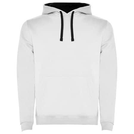 Urban Hooded Sweatshirt in White|Navy Blue von Roly (Artnum: RY1067