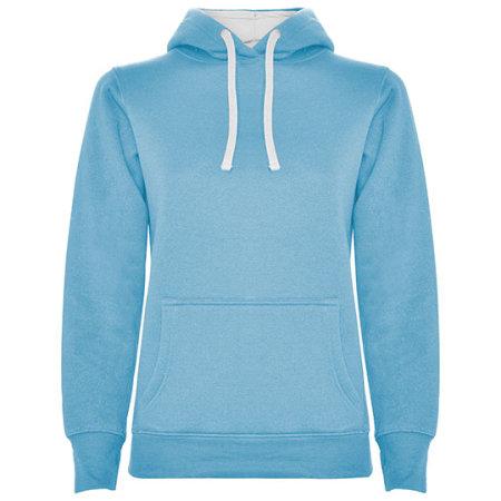 Urban Woman Hooded Sweatshirt in Sky Blue|White von Roly (Artnum: RY1068