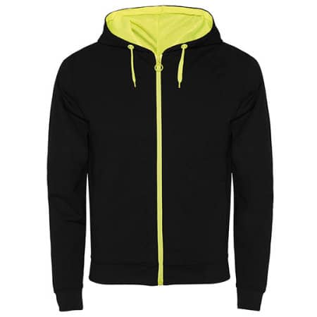 Fuji Sweat-Jacket in Black|Fluor Yellow von Roly (Artnum: RY1105