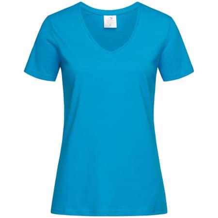 Classic-T V-Neck for women in Ocean Blue von Stedman® (Artnum: S279