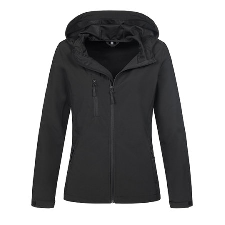 Active Softest Shell Hooded Jacket for women in Black Opal von Stedman® (Artnum: S5340