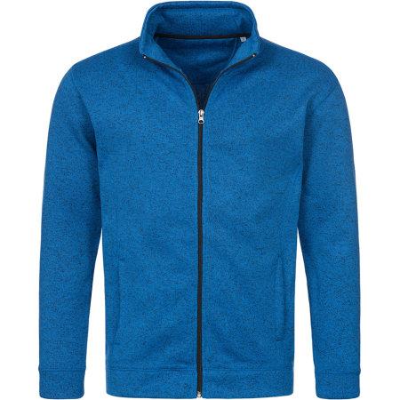 Active Knit Fleece Jacket in Blue Melange von Stedman® (Artnum: S5850