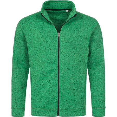 Active Knit Fleece Jacket in Green Melange von Stedman® (Artnum: S5850