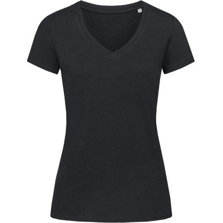 Janet Organic V-Neck for women in Black Opal von Stedman® (Artnum: S9310