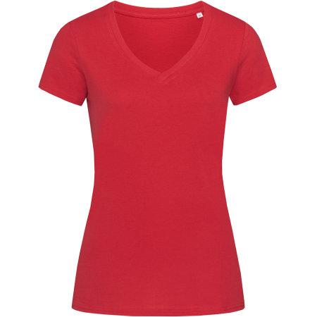 Janet Organic V-Neck for women in Pepper Red von Stedman® (Artnum: S9310