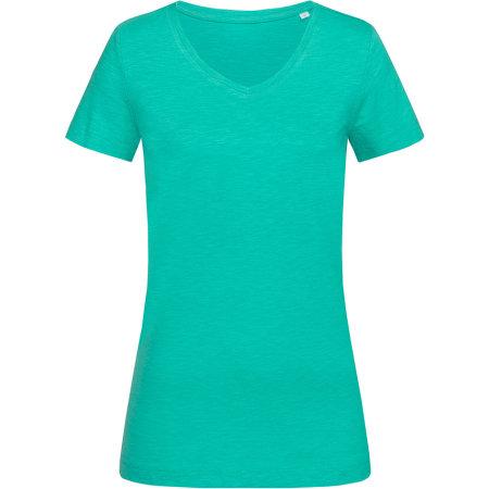 Sharon Slub V-Neck for women in Bahama Green von Stedman® (Artnum: S9510