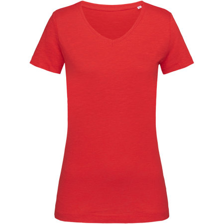 Sharon Slub V-Neck for women in Crimson Red von Stedman® (Artnum: S9510