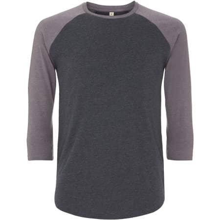 Salvage Unisex Baseball T-Shirt in Melange Black|Melange Heather von Continental Clothing (Artnum: SA22