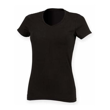 Ladies` Feel Good Stretch V-Neck T in Black von SF Women (Artnum: SF122