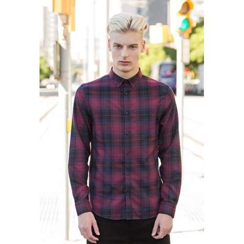 SF Men - Men`s Brushed Check Casual Shirt