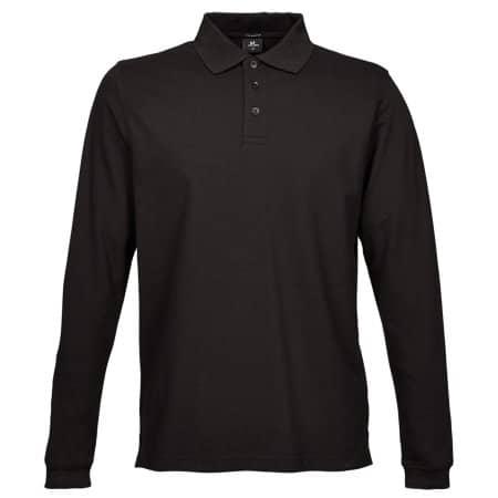 Luxury Stretch Long Sleeve Polo in Black von Tee Jays (Artnum: TJ1406