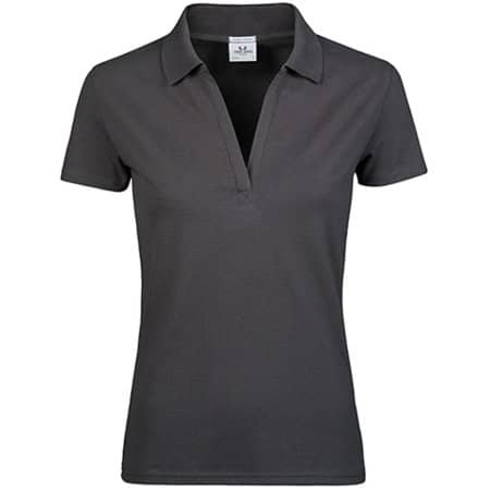 Womens Luxury Stretch V-Neck Polo in Dark Grey (Solid) von Tee Jays (Artnum: TJ1409