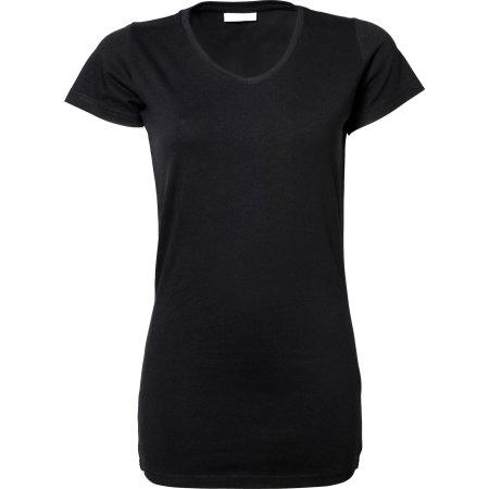 Ladies` Fashion Stretch Tee Extra Lenght in Black von Tee Jays (Artnum: TJ455