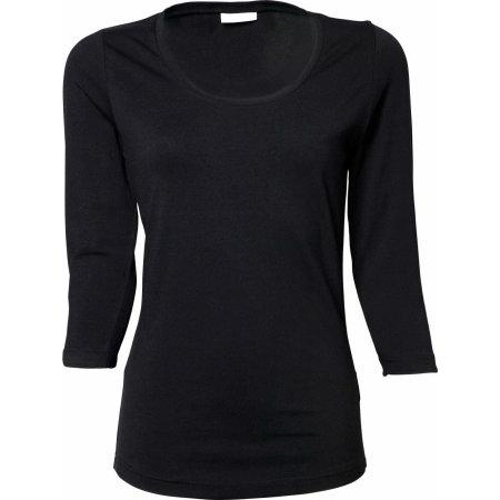 Ladies` Stretch 3/4 Sleeve Tee in Black von Tee Jays (Artnum: TJ460
