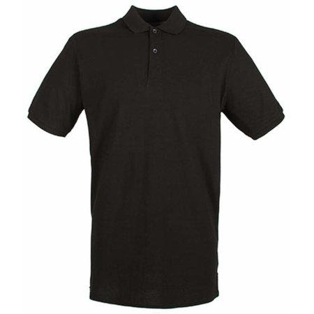 Modern Fit Cotton Microfine-Piqué Polo Shirt in Black von Henbury (Artnum: W101