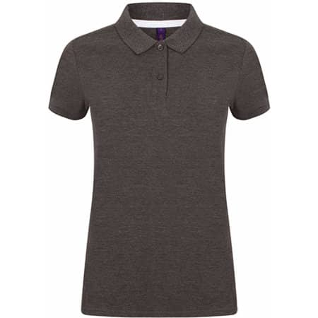 Ladies` Microfine-Piqué Polo Shirt in Charcoal von Henbury (Artnum: W102