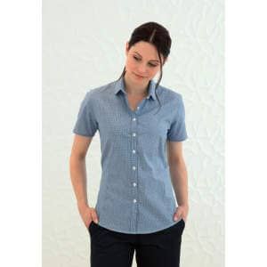 Ladies` Gingham Cofrex Pufy Wicking Shortsleeve Shirt