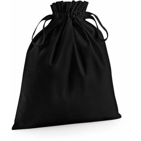 Organic Cotton Draw Cord Bag in Black von Westford Mill (Artnum: WM118