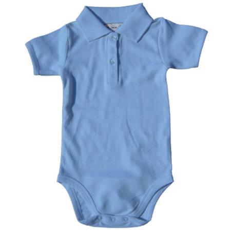 Bio Bodysuit with Polo shirt neck in Babyblue von Link Kids Wear (Artnum: X947