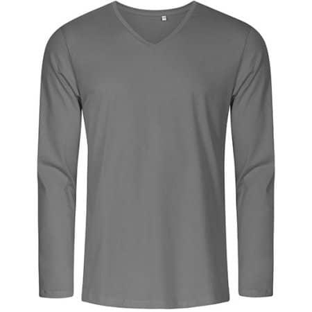 Men´s V-Neck T-Shirt Longsleeve in Steel Grey (Solid) von X.O by Promodoro (Artnum: XO1460