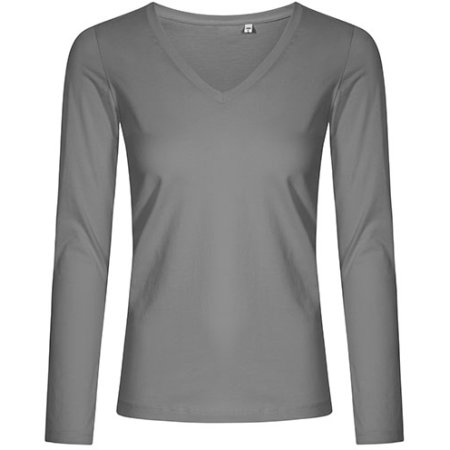 Women´s V-Neck T-Shirt Longsleeve in Steel Grey (Solid) von X.O by Promodoro (Artnum: XO1560