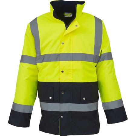 High Visibility Two-Tone Motorway Jacket in Hi-Vis Yellow|Navy von YOKO (Artnum: YK302