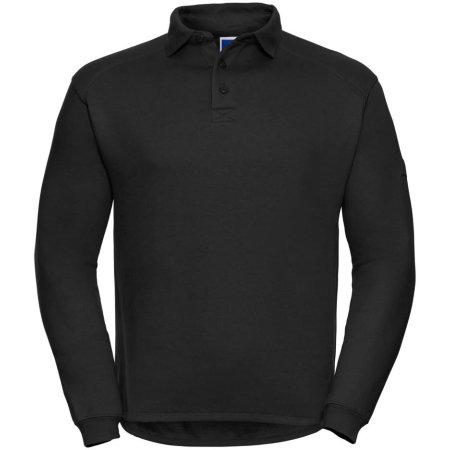 Workwear-Sweatshirt mit Kragen und Knopfleiste in Black von Russell (Artnum: Z012