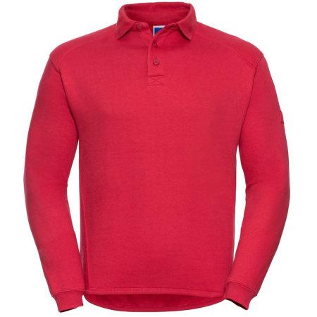 Workwear-Sweatshirt mit Kragen und Knopfleiste in Classic Red von Russell (Artnum: Z012