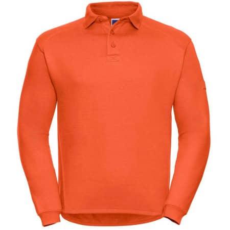 Workwear-Sweatshirt mit Kragen und Knopfleiste in Orange von Russell (Artnum: Z012