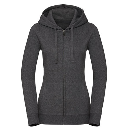 Ladies` Authentic Melange Zipped Hood Sweat in Carbon Melange von Russell (Artnum: Z263F