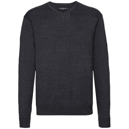 V-Neck Knitted Jumper in Charcoal Marl von Russell (Artnum: Z710