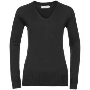Ladies` V-Neck Knitted Jumper