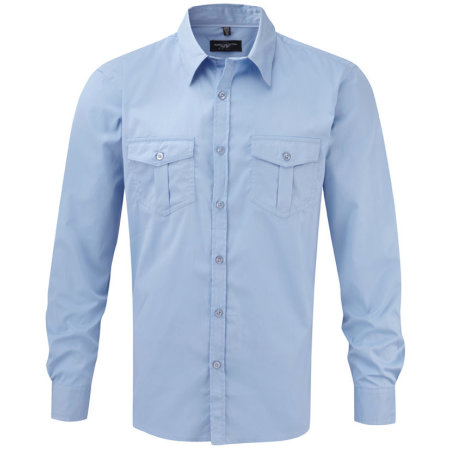 Men`s Roll Long Sleeve Twill Shirt in Blue von Russell Collection (Artnum: Z918